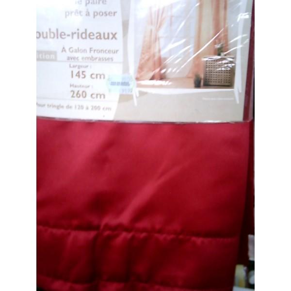 paire double rideaux galon fronceur 70mm mondecor. Black Bedroom Furniture Sets. Home Design Ideas